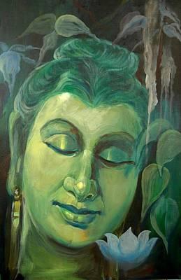 Sleeping Buddha Painting - Serene Buddha by Sai Shyamala Ramanand
