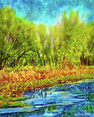 Digital Art - Serene Green Pond by Joel Bruce Wallach