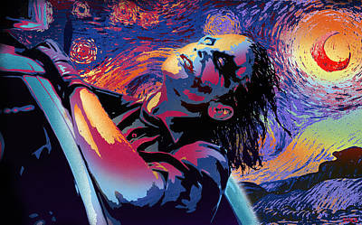 Heath Ledger Wall Art - Mixed Media - Serene Starry Night by Surj LA