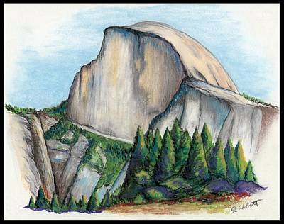 Half Dome Drawing - Serene Majesty - Half Dome by Ron Abbott