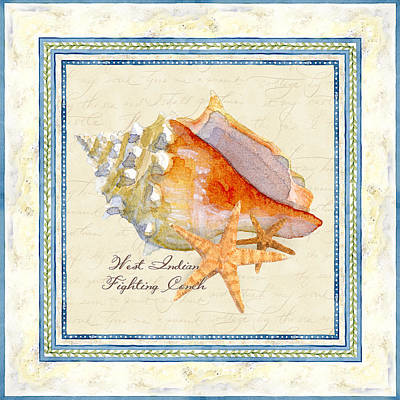 Sky Blue Mixed Media - Serene Shores - West Indies Fighting Conch N Starfish by Audrey Jeanne Roberts