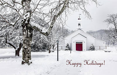 Photograph - Serene Snowy Chapel - Happy Holidays by Betty Denise