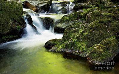 Serene Waterfall Art Print by MS  Fineart Creations