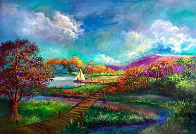 Serenely Sailing  Navegando Serenamente Art Print