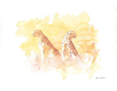 Serengeti Painting - Serengeti Cheetahs Field Sketch by Alison Nicholls