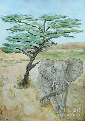 Painting - Serengeti Elephant by Yvonne Johnstone