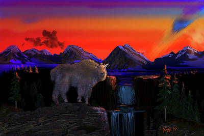 Mountain Goat Digital Art - Serenity At Sunrise by J Griff Griffin