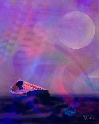 Row Boat Digital Art - Serenity At Sunset by David Derr