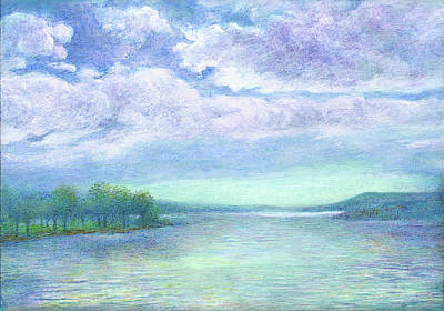 Painting - Serenity Blue Lake by Judith Cheng