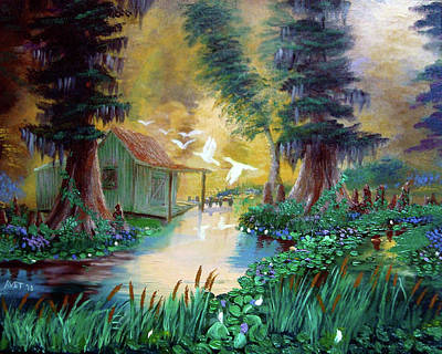 Cypress Swamp Painting - Serenity In The Swamp by Nicolas Avet