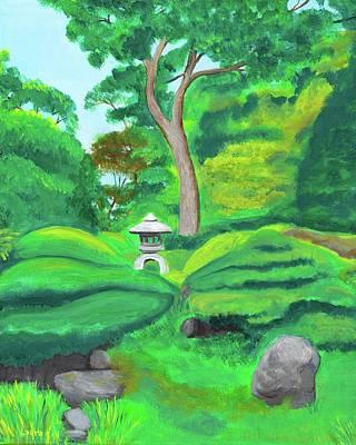 Japanese Tea Garden Painting - Serenity by Laura Zoellner