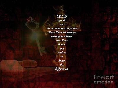 Wall Art - Painting - Serenity Prayer Inspirational Quote With Beautiful Christian Art by Jesus Savior