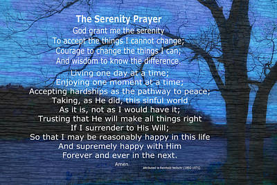Photograph - Serenity Prayer On Blue Nature Art by Ann Powell