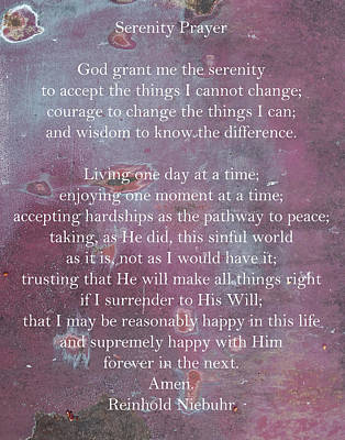 Photograph - Serenity Prayer On Rusty Door by Denise Beverly
