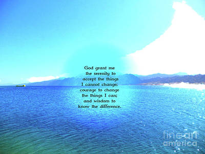 Wall Art - Painting - Serenity Prayer With Blue Ocean And Amazing Sky by Jesus Savior