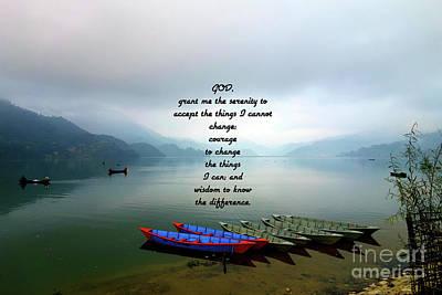 Wall Art - Painting - Serenity Prayer With Phewa Lake Panoramic View by Jesus Savior