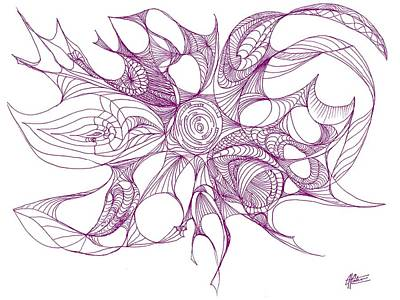 Abstract Shapes Drawing - Serenity Swirled In Purple by Charles Cater