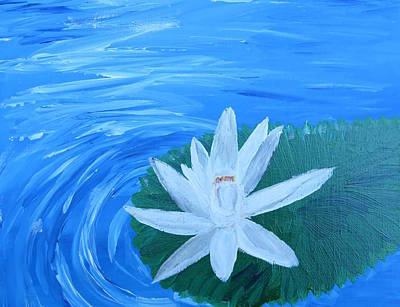 Painting - Serenity White Water Lily by Lynn-Marie Gildersleeve
