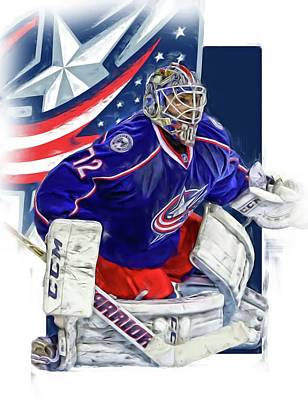 Mixed Media - Sergei Bobrovsky Columbus Blue Jackets by Joe Hamilton
