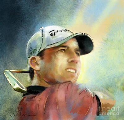 Sports Paintings - Sergio Garcia in The Castello Masters by Miki De Goodaboom