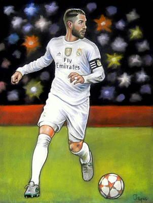 Sergio Ramos Wall Art - Pastel - Sergio Ramos by Jim Papas
