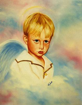 Angels Painting - Serious Angel by Joni McPherson