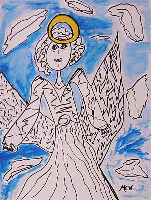 Angel Blues Drawing - Serious Intent by Mary Carol Williams