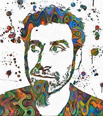 Music Paintings - Serj Tankian Paint Splatter by Dan Sproul