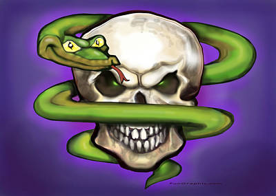 Snake Digital Art - Serpent Evil Skull by Kevin Middleton