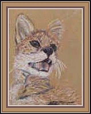 Pastel - Serval Cat Pastel by Julia Woodman