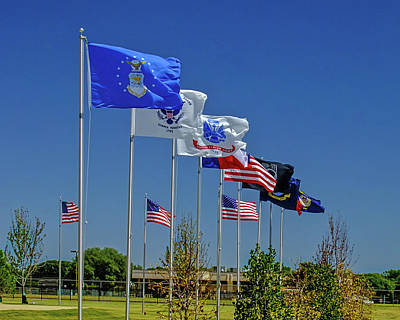 Photograph - Service Flags by Allen Sheffield