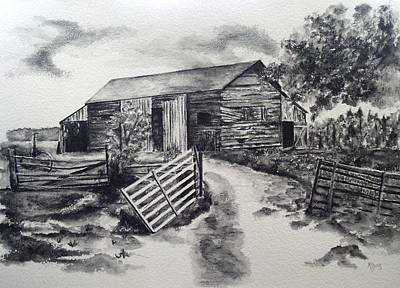 Old Barn Drawing - Service Rendered by Mary Jo Jung