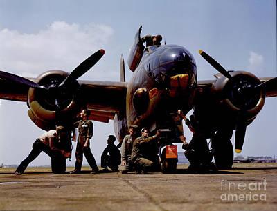 Mixed Media -  Servicing An A-20 Bomber Langley Field Va by Heinz G Mielke