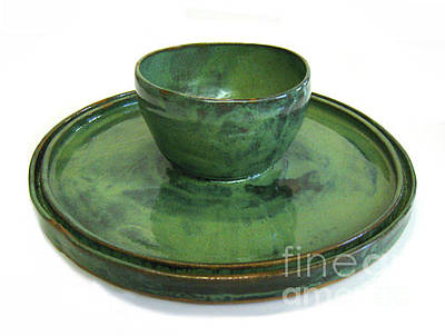 Biloxi Pottery Ceramic Art - Serving Dish Or Chip And Dip Server by Vernon Nix