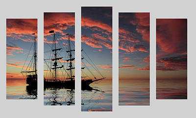 Reflection Photograph - Set 22 - Pirate Ship At Sunset by Shane Bechler