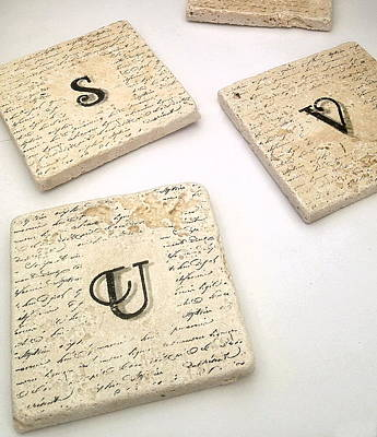 Mixed Media - Set Of 2 Monogram Tile Coasters With Script by Angela Rath