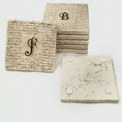 Mixed Media - Set Of 6 Monogram Tile Coasters With Script by Angela Rath