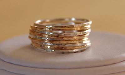 14k Mixed Media - Set Of 9 Handmade Sterling Silver And 14k Gold Fillled Stacking Rings Made To Order by Nadina Giurgiu