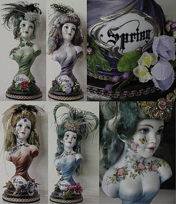 Set Of Busts - 4 Seasons Original by Shirley Heyn