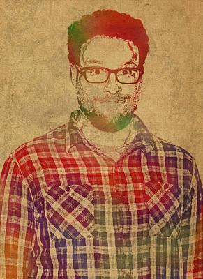 Seth Rogen Comedian Actor Watercolor Portrait On Canvas Art Print