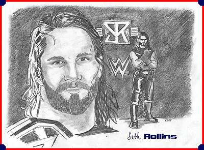 Drawing - Seth Rollins by Chris  DelVecchio