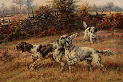 Sniffing Painting - Setters On Point by Edmund Henry Osthaus