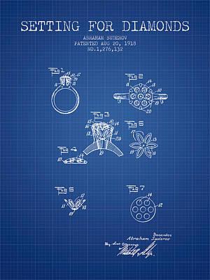 Setting For Diamonds Patent From 1918 - Blueprint Art Print