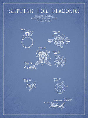 Setting For Diamonds Patent From 1918 - Light Blue Art Print by Aged Pixel