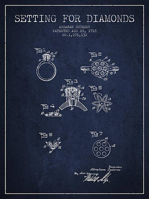 Diamond Bracelet Digital Art - Setting For Diamonds Patent From 1918 - Navy Blue by Aged Pixel