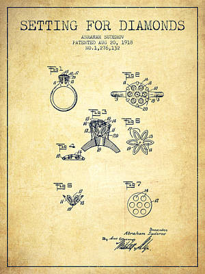 Setting For Diamonds Patent From 1918 - Vintage Art Print by Aged Pixel