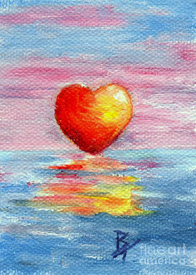 Painting - Setting Heart Aceo by Brenda Thour