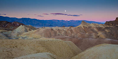 Photograph - Setting Moon Zabriskie Point Death Valley  by Duncan Selby