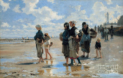 Low Tide Painting - Setting Out To Fish by John Singer Sargent