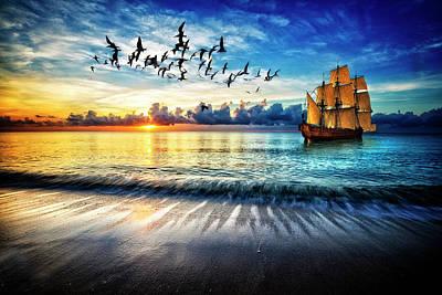 Photograph - Setting Sail At Dawn by Debra and Dave Vanderlaan